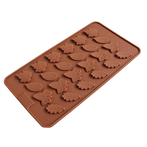 24 Cavity Maple Leaves Ice Cube Tray Fondant Silicone Mold Sugar Chocolate Mold Candy ()