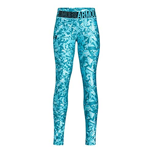 Under Armour Girls' Youth Heatgear Novelty Leggings,  Deceit (439)/High-Vis Yellow,  Youth - Girls Clothing Snowboard