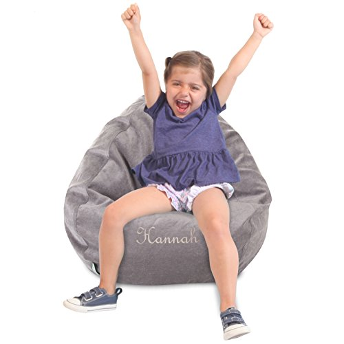 Personalized Bean Bag Chair - Majestic Home Goods Personalized Embroidered Classic Bean Bag Chair - Villa Giant Classic Bean Bags for Small Adults and Kids, 28 x 28 x 22 Inches (Vintage)