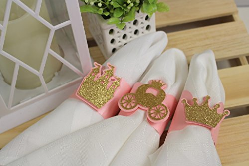 All About Details Light Pink & Gold Princess Theme Napkin Holders, Set of 12