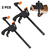 M-Aimee 2 Pack Bar Clamp Set, Quick Release One Handed Bar Clamps with F Shaped Design, Woodworking Hand Tools for Carpenter (6 Inch)