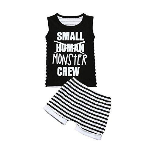 Kehen Infant Baby Boy Sleevless Letter Print Vest Tops + Striped Shprts 2pcs Fasion Summer Clothes Sets (Black, 0-6 Months)