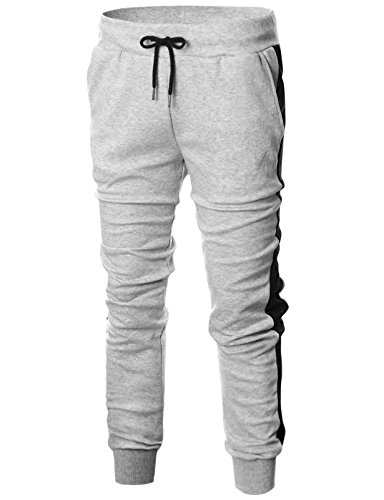 GIVON Mens Slim Fit Lightweight Training Active Sweat Jogger Pant with Color Trims/DCA007-GREY/BLACK-M