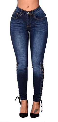 Romanstii Woman Jeans Skinny Fit Denim Jeans Slim Stretch Jeans Straps Cross Dark Blue - Blue Jean Denim