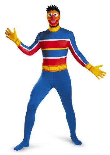 Disguise Men's Sesame Street Ernie Bodysuit Costume, Blue/Red/Yellow, XX-Large/50-52