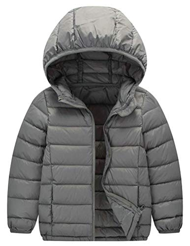 Hajotrawa Boy Loose Down Lightweight Hoody Packable Portable Jacket Parka Coat Gray 12T by Hajotrawa