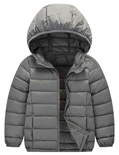 Hajotrawa Boy Loose Down Lightweight Hoody Packable Portable Jacket Parka Coat Gray 12T by Hajotrawa