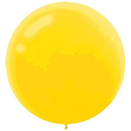 Party Perfect Round Latex Balloons Decoration, Yellow Sunshine, 24