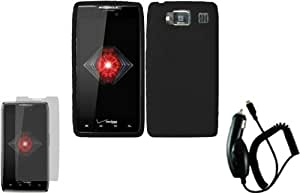 Black Silicone Jelly Skin Case Cover+LCD Screen Protector+Car Charger for Motorola Droid Razr HD XT926