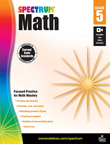 Spectrum Math Workbook, Grade 5 (Summer Math Skills Sharpener Algebra 1 Answers)