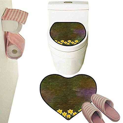 2 Piece Mat Pedestal Rug Bath Mat Potted Daffodils Under Calligraphy Letter Featured Flower SPR Brown Contour Toilet Mat and Carpet ()