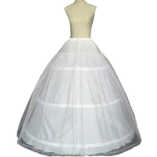 (Fair Lady 3 Hoop Ball Gown Full Crinoline Petticoat for Women Wedding Skirt(Small) White)