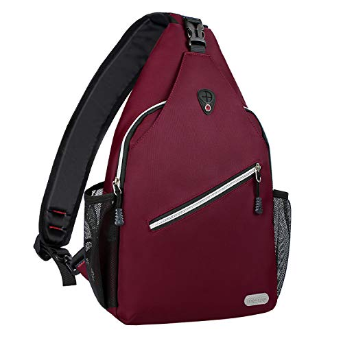 MOSISO Rope Sling Backpack (Up to 13 Inch), Multipurpose Crossbody Chest Shoulder Outdoor Travel Hiking Daypack, Wine - Dragon Sling