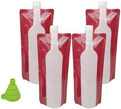 Botella de vino bolsa termo, hapway 4 Pack portátil reutilizable Flexible plegable plegable leekproof botellas de vino bolsa para viajes barbacoa Camping ...