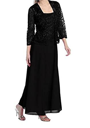 Womens Long Mother Of The Bride Plus Size Formal Lace Dress With Jacket (Small, Black)