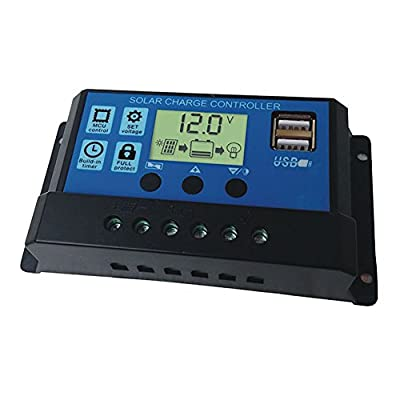 10A/20A/30A Solar Panels Battery Charge Controller Regulator with Dual USB Port Voltage LED Display 12V/24V Overload Protection