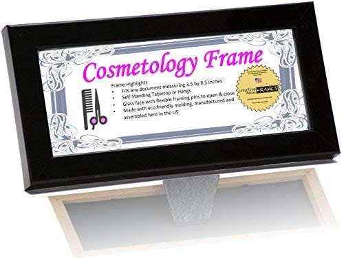 CreativePF [3.5x8.5bk] Black License Frames for Cosmetology Professionals - State Board License Holder Displays Certificates, Tax License and More - Self Standing with Hanger