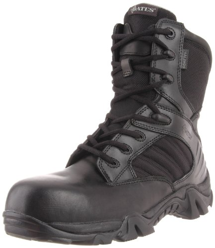Sport Composite Toe Side Zip - Bates Men's 8 Inch GTX Ultra Lites Comp Uniform Work Boot, Black, 9.5 M US