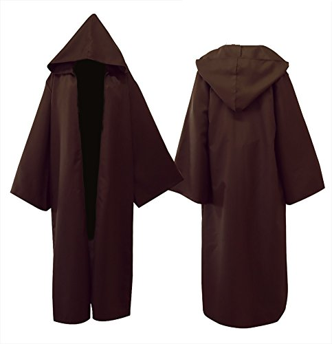 Brown Hood - Tititina Men's Brown Cloak Party Cosplay Costume Robe Cape,Adult Knight Cool Hooded Cloak,L