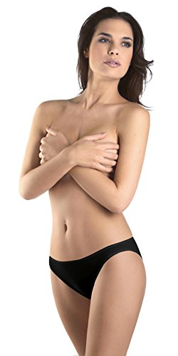 Hanro Women's Cotton Seamless Hi Cut Panty Brief Panty, Black, Small
