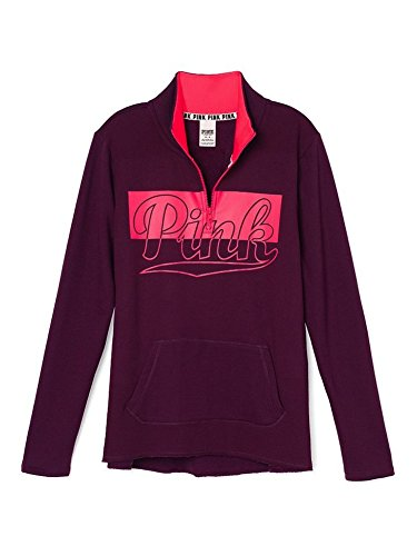 Victoria's Secret Pink High Low Half Zip Sweatshirt X-Small Burgundy Pink