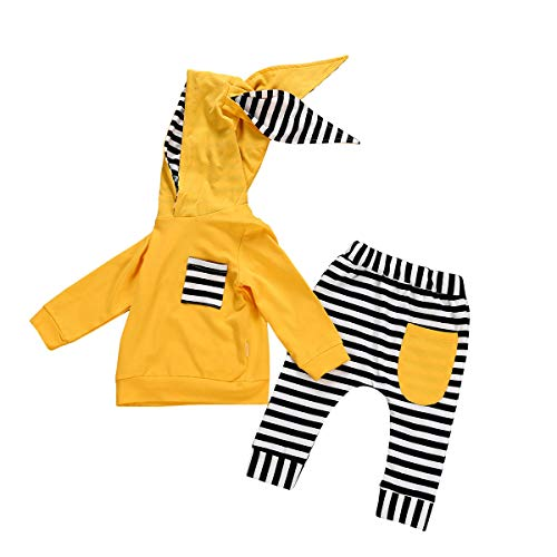Baby Girl Clothes Outfit Hoodie Sweatshirt Long Sleeve Rabbit Hood Top Pants Outfits Set (Baby Girl Clothes Outfit Hoodie Yellow,18-24 Months,)