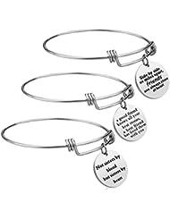 iJuqi Friendship Bracelet - 3 PCS Stainless Steel Expendable Inspirational Bangle Bracelets BFF Jewelry Set Graduation Gifts Birthday Gifts
