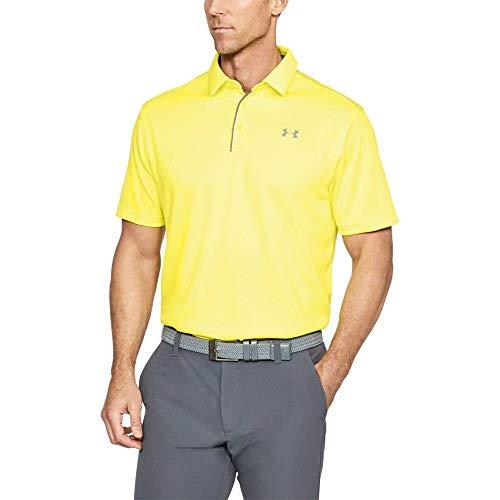 Under Armour Men's Tech Golf Polo, Sulfur (762)/Graphite, Medium