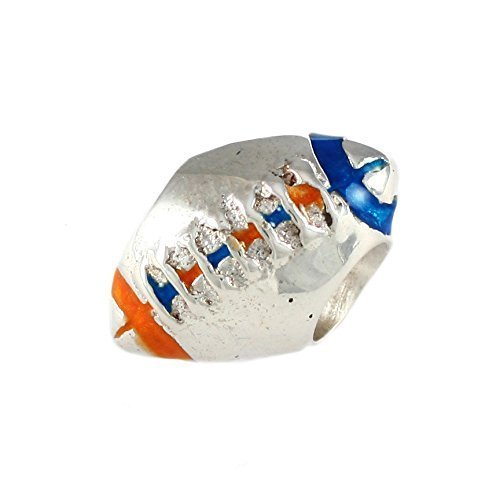 (925 Sterling Silver Football Bead with Orange and Blue Enamel - University of Florida Gators European Style Charm Bead - Fits Pandora and Similar Bracelets)