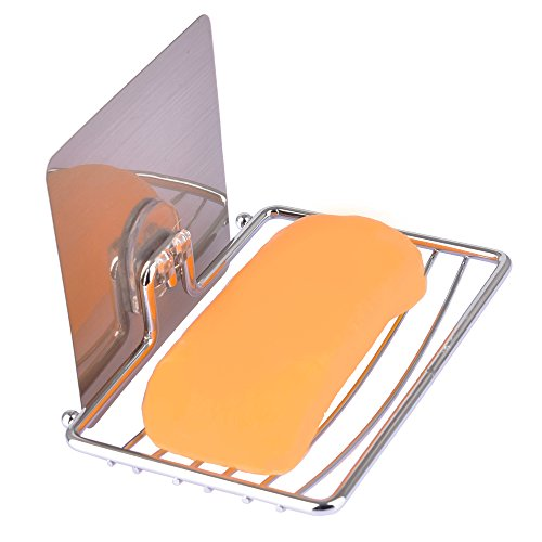 Soap Dish Wall Mounted Metal Self Adhesive Rack Holder of Bath Shower Accessories (Style 2)