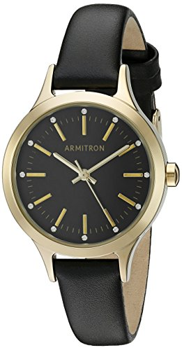 Armitron Women's 75/5372BKGPBK Swarovski Crystal Accented Gold-Tone and Black Leather Strap Watch