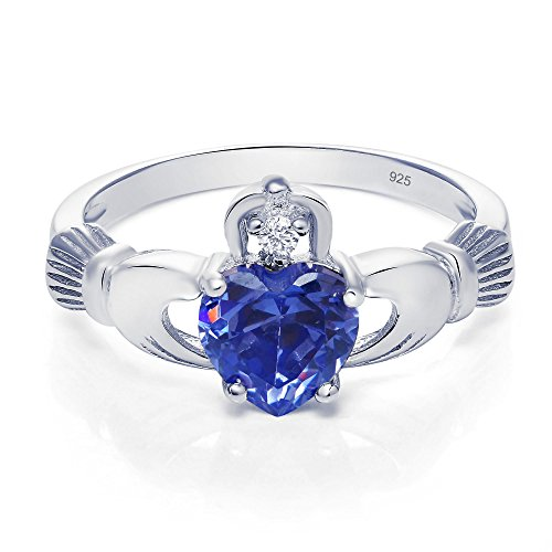 Sterling Silver Claddagh Promise Ring For Her with Simulated Tanzanite And Cubic Zirconia, 8mm (11) ()