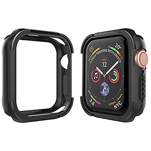 Tech Express Two Tone Shockproof Armor Case for Apple Watch Series 4 [iWatch Cover] Military Grade Rugged 40mm, 44mm Anti Scratch Drop Proof Construction Grade Full Body Bumper (Black, ()