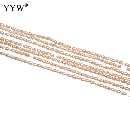 - Calvas Cultured Rice Freshwater Pearl Beads Fashion Jewelry Making Natural Pink Loose Bead 2-2.5mm Sold Per Approx 15.5 Inch Strand