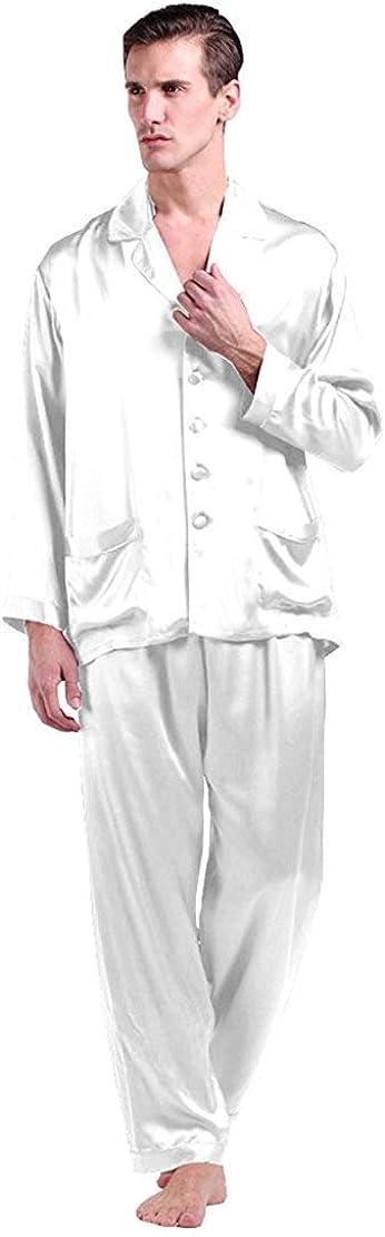LilySilk Men's Silk Long Pajamas Set for Men 2pc Sleepwear Soft Luxury 22 Momme Real Mulberry Silk
