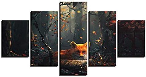 Slzlhc キャンバスHdプリント写真リビングルームファッションウォールアート5ピース森林動物絵画家の装飾抽象ポスターフレームワーク-30X40Cmx2/30X60Cmx2/30X80Cmx1
