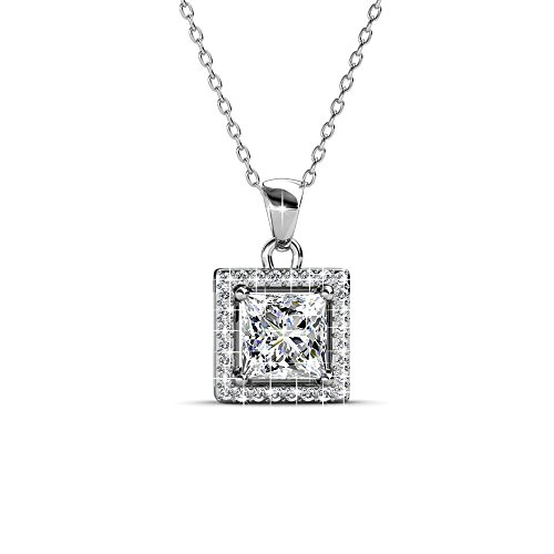 Cate & Chloe Ekatrina Pure Pendant Necklace, Women's 18k White Gold Plated Halo Necklace with Sparkling Square Cut Solitaire Swarovski Crystal Center Stone, Silver Necklace for -