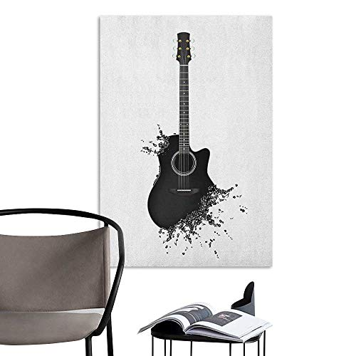 Alexandear Self Adhesive Wallpaper for Home Bedroom Decor Guitar Monochrome Musical Instrument with Strings Acoustic Color Splashes Creative Outlet Black White Large Removable Decals W20 x H28 ()