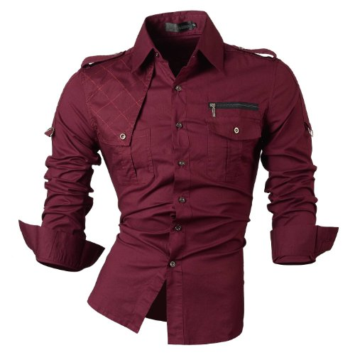 jeansian de los Hombres Slim Fit Mangas largas Casual Camisas 8371, Winered, Mediano