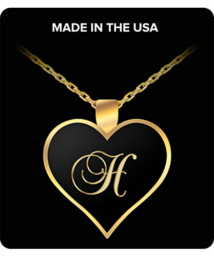 H Initial Necklace - Heart Gold Plated Chain Pendant - Name Charm