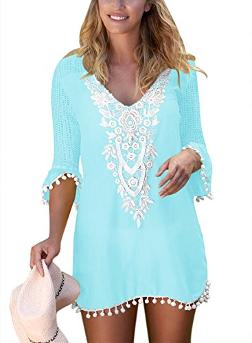 BLENCOT Women's Crochet Chiffon Tassel Swimsuit Bikini Pom Pom Trim Swimwear Beach Cover Up-Light Blue Medium