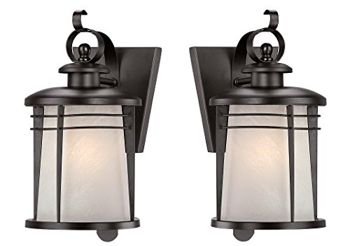 (Westinghouse 6674100 Senecaville One-Light Exterior Wall Lantern, Weathered Bronze Finish on Steel with White Alabaster Glass (2 Pack))