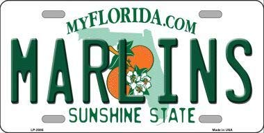Marlins Florida State Background Metal Novelty License Plate (with Sticky Notes) - Florida Marlins Sign