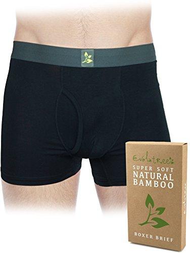 Evolatree - Men's Organic Bamboo Boxer Briefs Underwear - Black - Medium