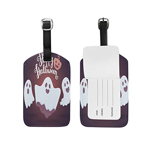 Happy Halloween Ghost Luggage Tag Suitcases Ship Women Men Personalized Kid Leather