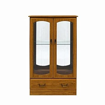 Caxton Tennyson Teak Style Low Display Cabinet, 2 Piece