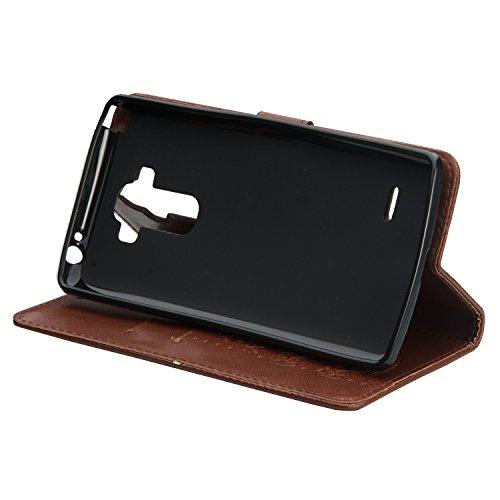 SRY-case Para LG LS770 puro color elefante patrón de presión con ranura para tarjetas, Lanyard plana abrir el teléfono Shell ( Color : Brown ) Brown