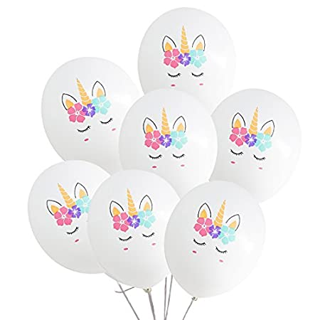 Baby Shower Aiernuo 30 Pcs Unicorn Birthday Balloons White and Pink Unicorn Balloons for Unicorn Theme Party Kids Birthday Party Festival Party Decorations White /& Pink
