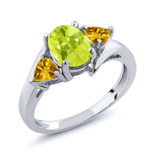 Lemon Citrine Ring (1.50 Ct Oval Yellow Lemon Quartz Yellow Citrine 925 Sterling Silver Ring)