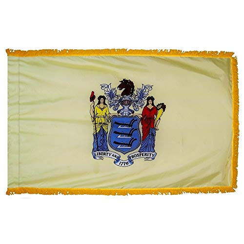 New Jersey State Flag with Gold Fringe for Ceremonies, Parades, and Indoor Display (4'x6')